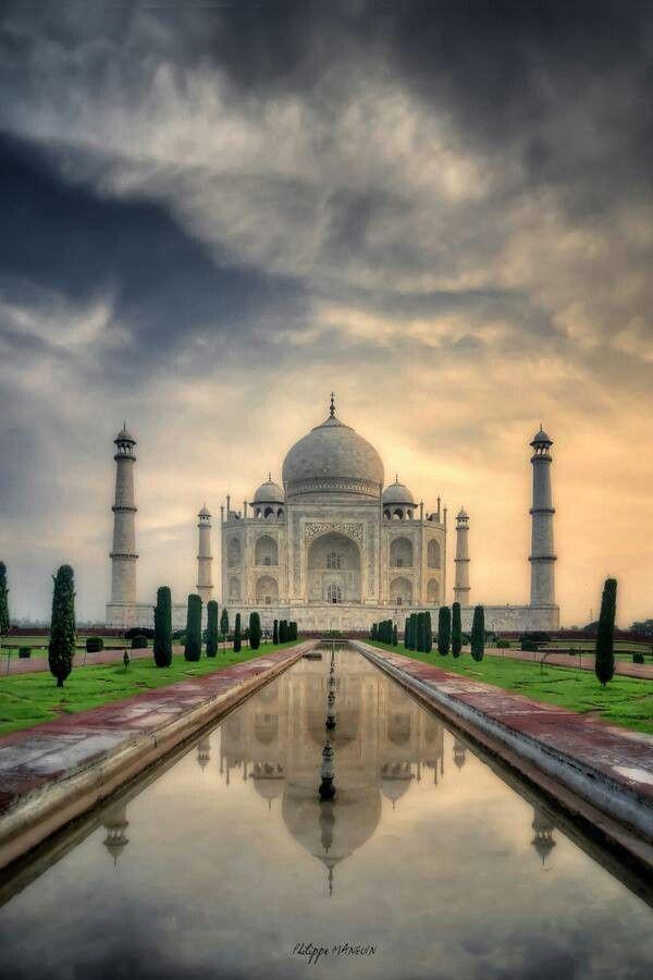 Taj Mahal , Agra , India . Built between 1632 and 1653 by order of the Mughal emperor Shah Jahan in memory of his favorite wife Mumtaz Mahal .