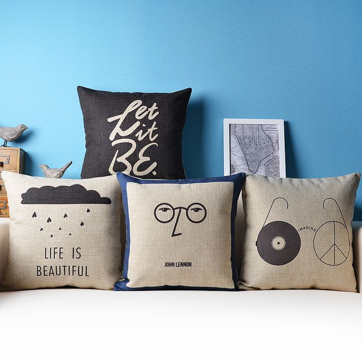 John Lennon The Beatles let it be glasses music art home decor couch cushion decorative throw pillows for sofa cojines almofadas(China (Mainland))
