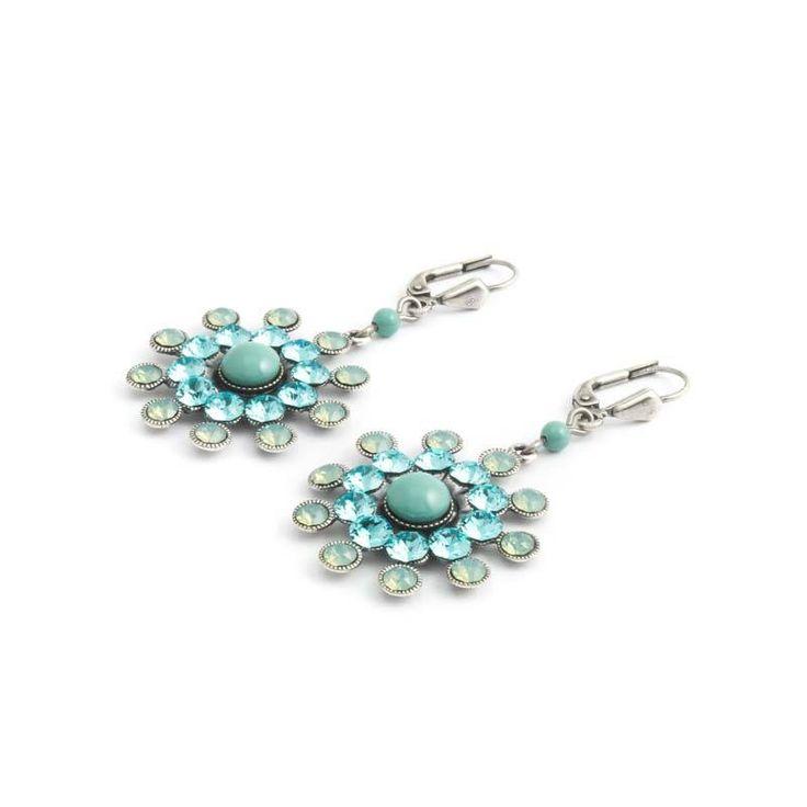 Krikor Turquoise oorbellen met kristallen en parel