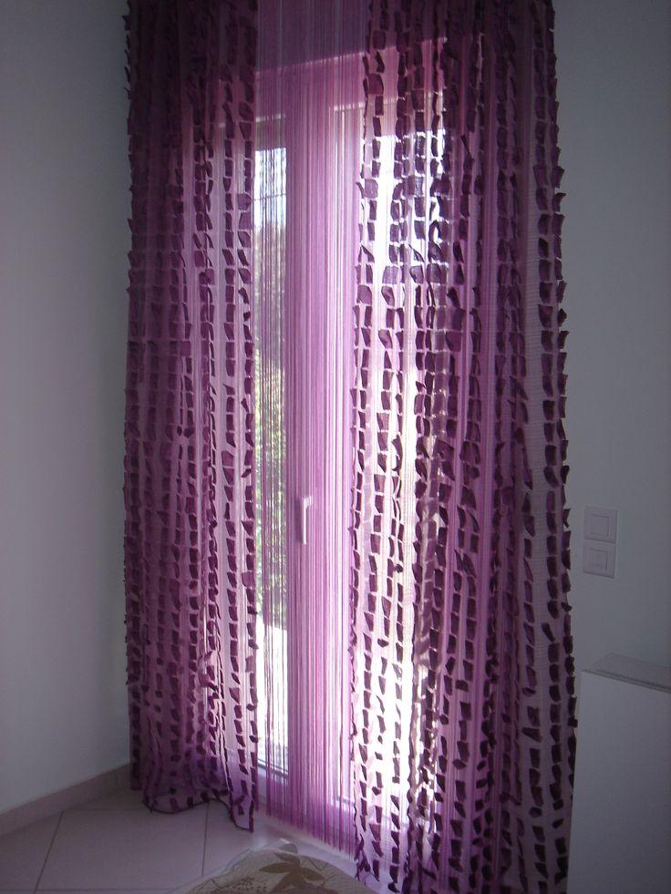 Κουρτίνα σε μωβ απόχρωση για ένα όμορφο υπνοδωμάτιο..