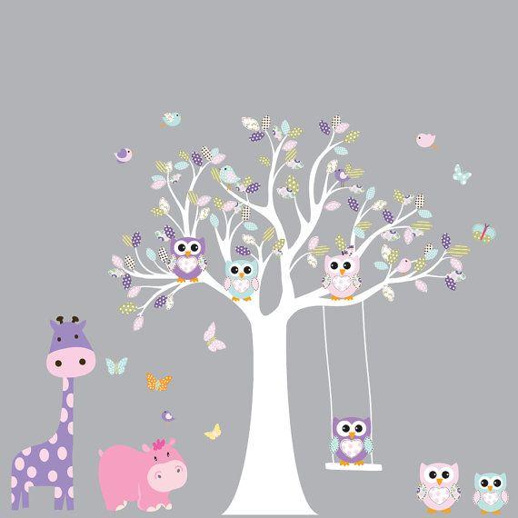 Custom Listing Tree Decal Nursery Wall Stickers Colorful Tree Owl Wall Decal Elephant