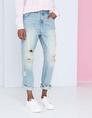 boyfriend jeans #comfy #pastels #ripped #denim #BershkaDenim