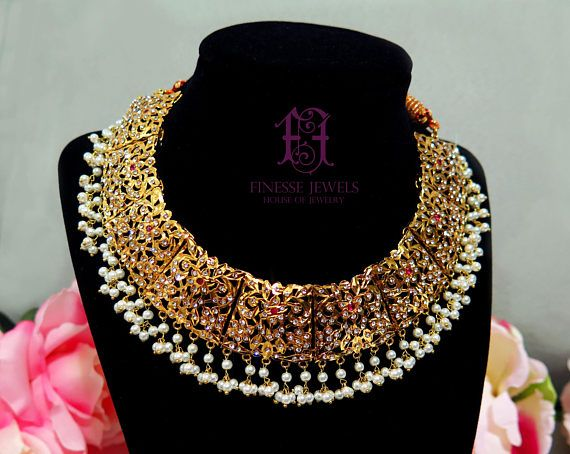 Jadau HyderabadiPakistani JewelryFine Gold Necklace Set