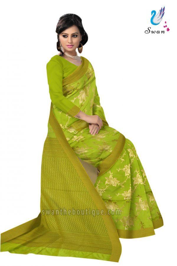 105e7303d8 Buy Fancy wedding Neon green art silk designer saree online shopping at  best price in India. Shop online Neon green art silk designer saree with  blouse ...
