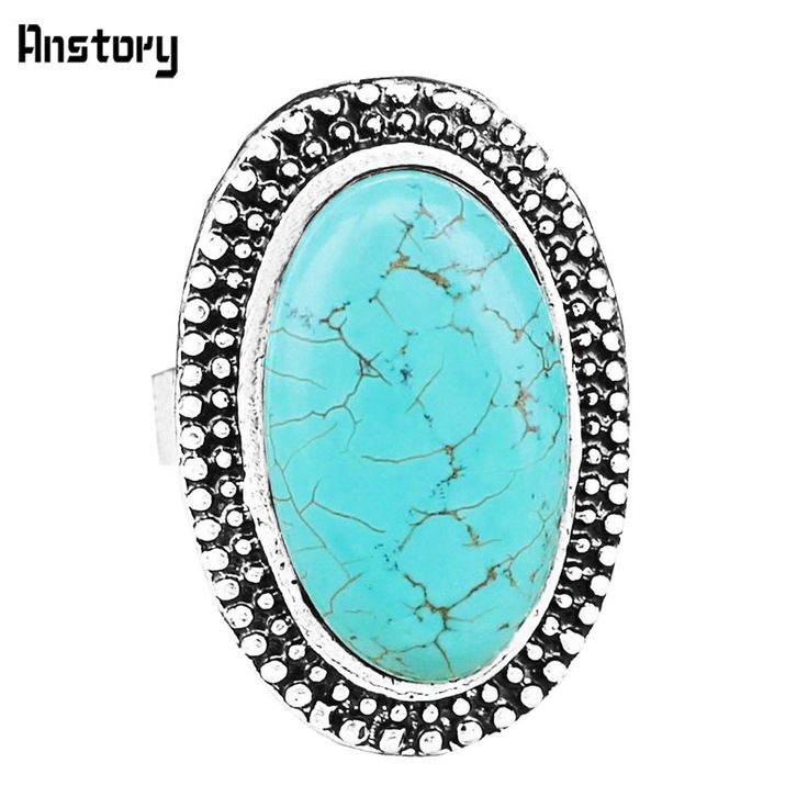 Vintage Look Tibetan Alloy Antique Silver Plated Dot Oval Heavy Real Turquoise Bead Adjustable Rings R302