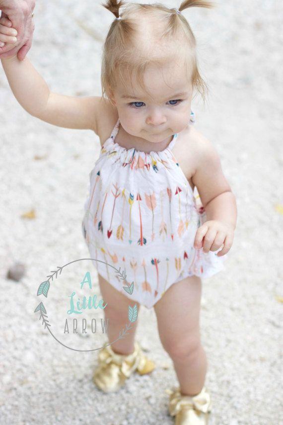 5296c57fc9ba Little Arrows Ruffled Baby Girl Romper. Baby Girl Romper. Baby Bubble Romper.  Baby Sun Suit