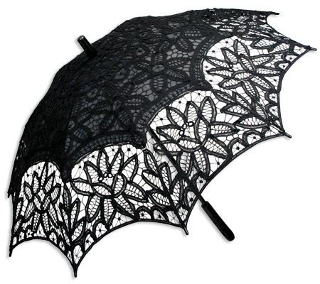 Battenberg Lace Parasol, Black. I like this one because it  has a straight handle and the tip and handle are black (not unpainted wood)