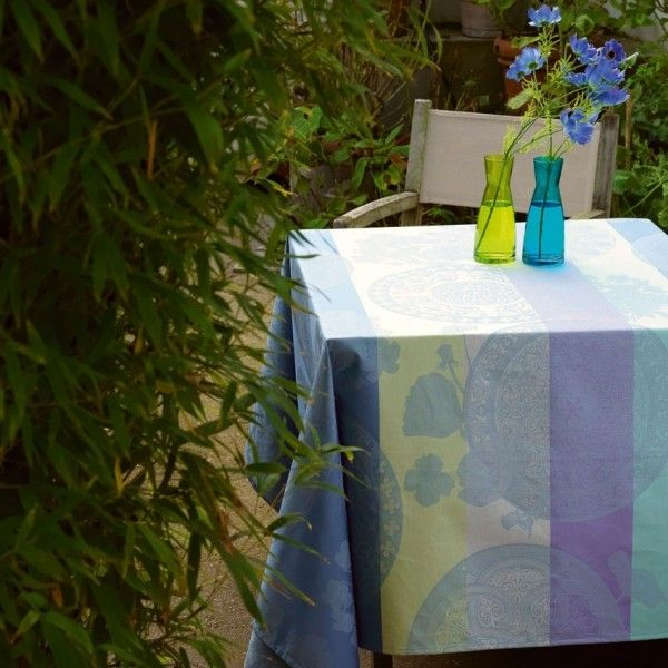 Le Jacquard Francais Fleurs Gourmandes Light Blue Coated Tablecloth
