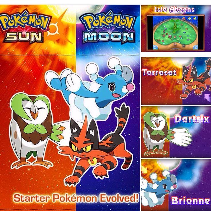 Sun and Moon starter Pokemon evolutions revealed  #pokemon #rowlett #litten #popplio