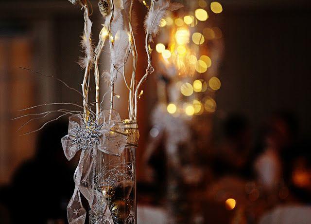 winter wedding snow snowflake white silver grey gray feather ornament Christmas new years wedding bride groom decoration