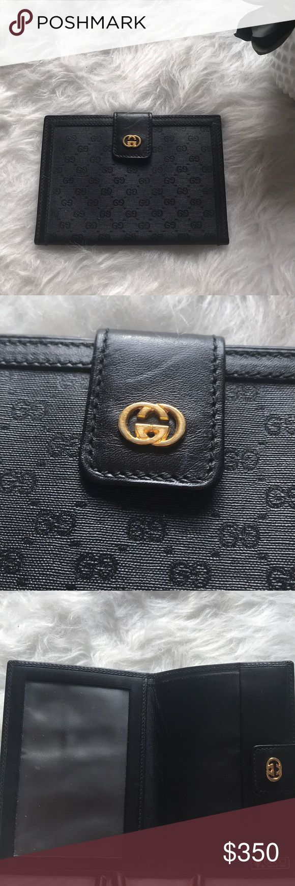 GUCCI travel document passport holder wallet GUCCI travel document passport holder wallet. Great condition leather, vinyl Gucci passport, travel document holder with gold detail. Have an since 2010, was a gift for travel. Minor where do you to use. Sleek and beautiful for upcoming vacations and travel Gucci Bags