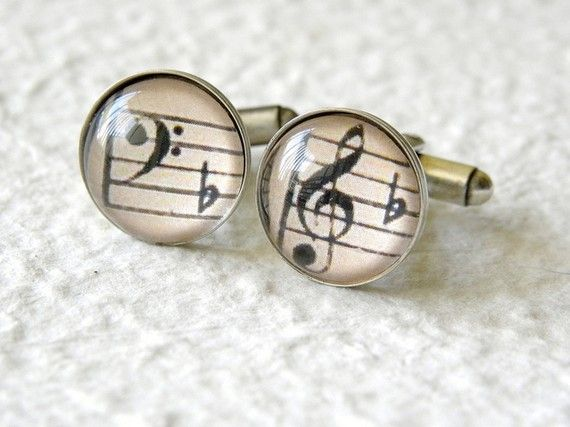 Symphony Music Notes Men's Cufflinks Cuff Link Set - Great gift for groomsmen