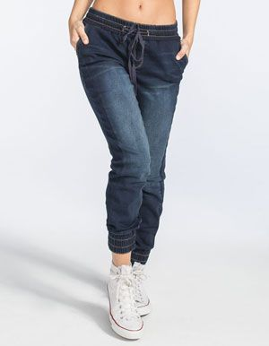 EVERMORE Womens Denim Jogger Pants