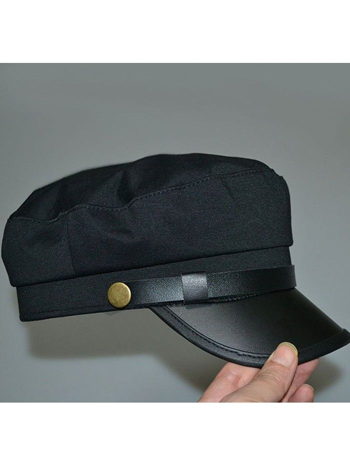 bb06f55d350 Vintage PU Flat Top Army Baseball Cap Unisex Fisherman Sailor Hat ...