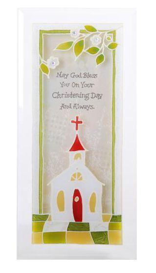 Baby Christening Glass Plaque