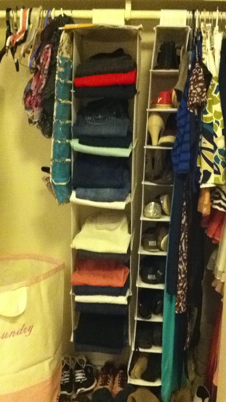 jeans on a hanging shoe shelf for more space in the closet brilliant