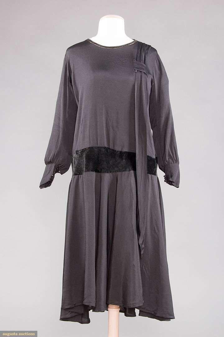 Dress, silk with velvet, 1920s