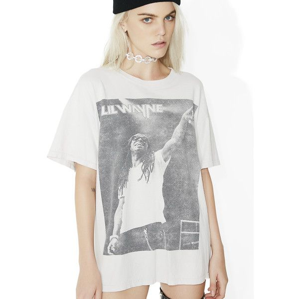Vintage Lil Wayne Tee ($200) ❤ liked on Polyvore featuring tops, t-shirts, loose white t shirt, loose white tee, white graphic t shirt, white graphic tees and graphic design t shirts