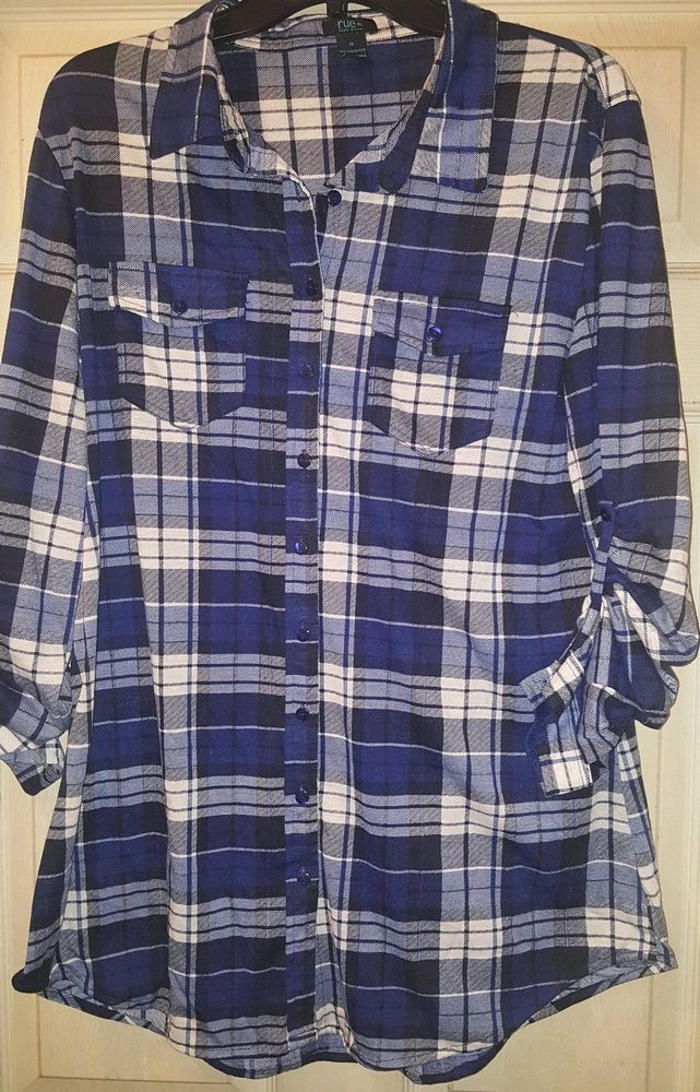 65df9dcf1 Womens Rue Blue Checkered Stripe Shirt Size 1X Plus Size 3/4 sleeve  #fashion #clothing #shoes #accessories #womensclothing #tops (ebay link)