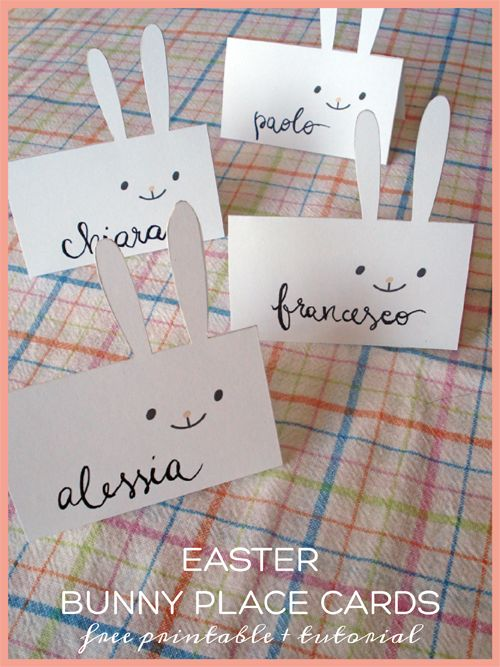 Easter party mini kit - bunny place cards {free printable + tutorial} | She art