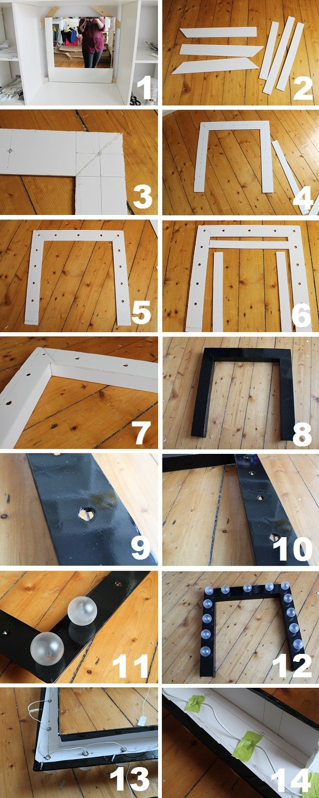 DIY Dressing Room Vanity Mirror I love this idea probably better than any other vanity mirror idea's I found but instead of the  black masking tape I would use a nice glossy paint if that would work on the foam board which I've never used before so idk how that would look but I will find out.