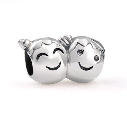 Bling Jewelry 925 Silver Boy and Girl with Pigtails Face Bead Charm Fits Pandora