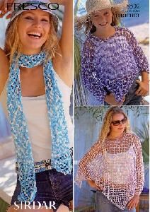 Sirdar 8502 Crochet Poncho and Scarf