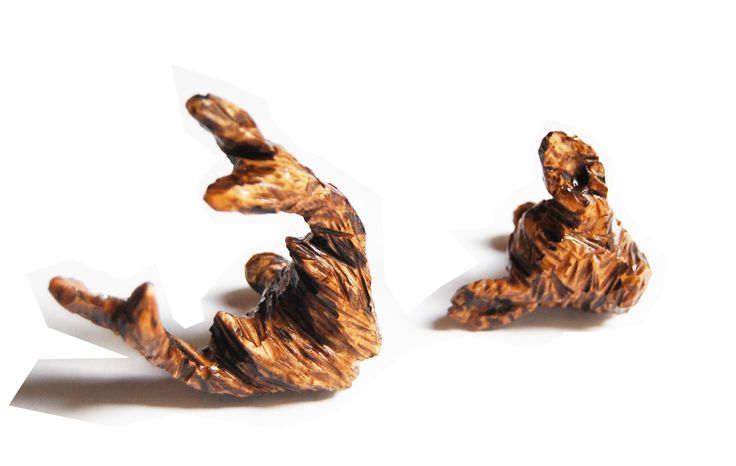 Like a deer in the forest - Cufflinks - Wood carving - by Jelka Quintelier