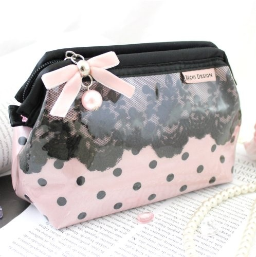 Beauty: New Adorable Polka Dot Romance Wired Cosmetic Bag - Buy New: $13.00