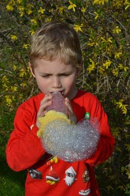 Bubble snake maker.  So easy!  Water bottle, wash cloth, rubber band and dish-soapy water.