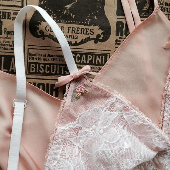 Aurora lace and tulle embroidered lingerie handmade set with