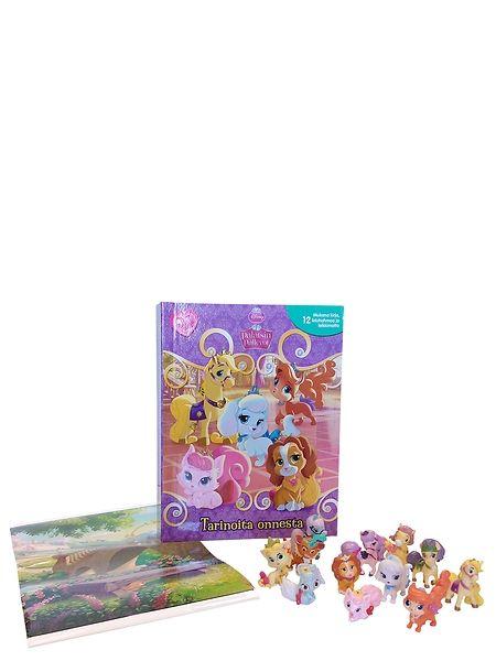 Palatsin pallerot, Tarinoita onnesta -leikkimattokirja sisältää tarinan, 12 leluhahmoa ja leikkialustan yksissä kansissa! Leikkialusta ja hahmot säilyvät kätevästi kirjan sisällä omassa kotelossaan. 3+