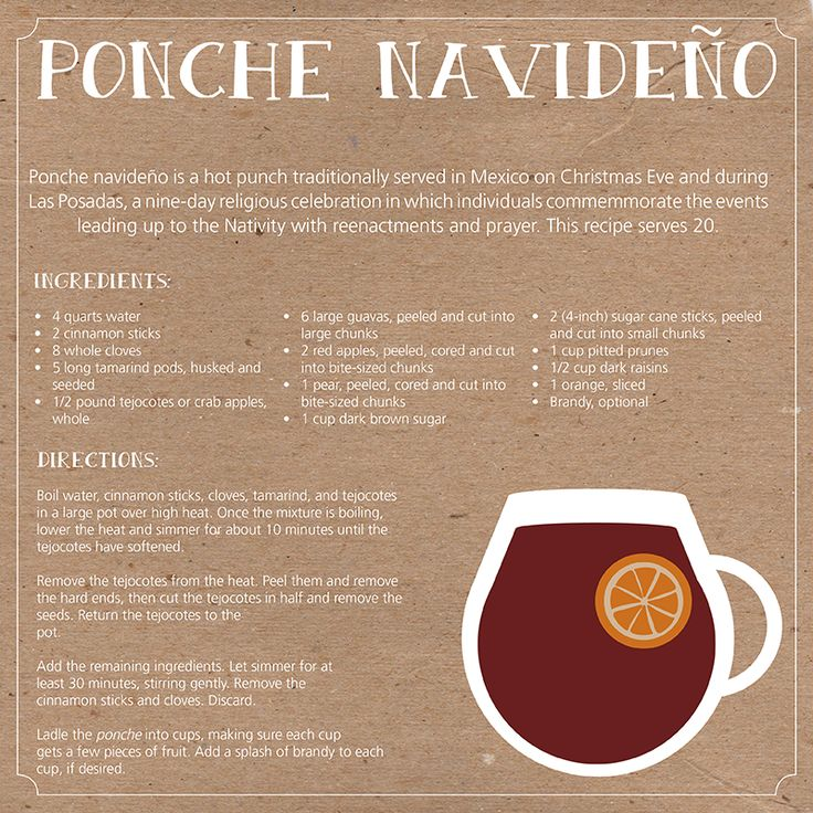 holiday cocktail recipe, christmas punch, mexican traditions, ponche navideno