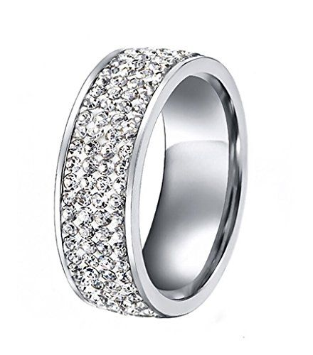 Women Stainless Steel CZ Cubic Zirconia Eternity Ring for Wedding Band Engagement7mm Width
