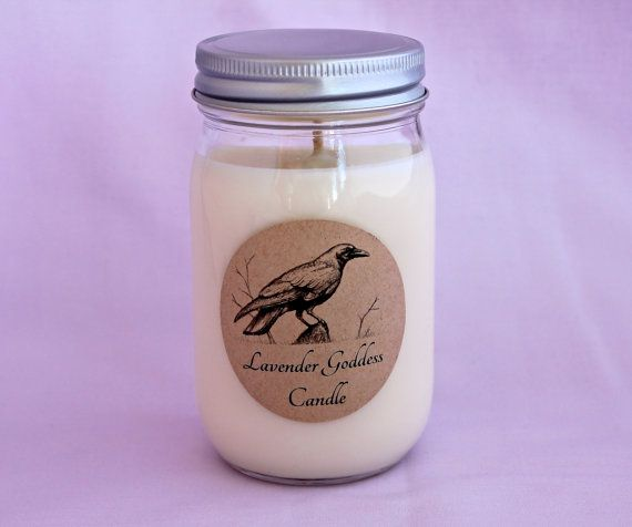 Hand Poured White Soy Wax Mason Jar Candle, Aromatherapy Candle, Natural Soothing Relaxing Lavender Scent, Made in Maine, Minimalist Candle