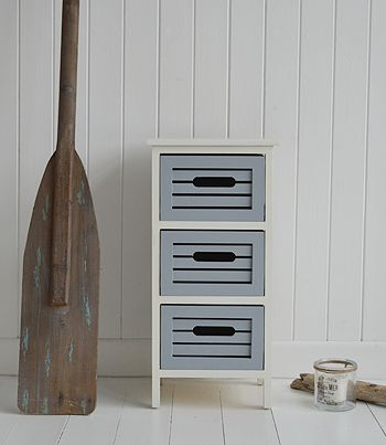 Beach House storage furniture. Bathroom decorating ideas for a coastal, nautical or beach house style. Order online for free delivery