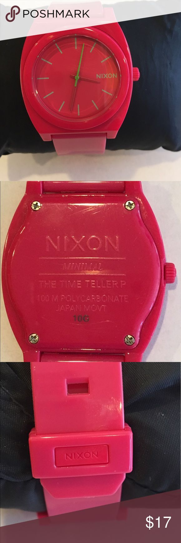 New Battery! Nixon Polycarbonate Hot Pink  The Time