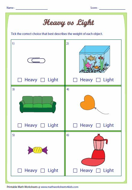 Heavy And Light Worksheets Math Activities Preschool Math For Kids English Lessons For Kids Kindergarten worksheets heavy and light