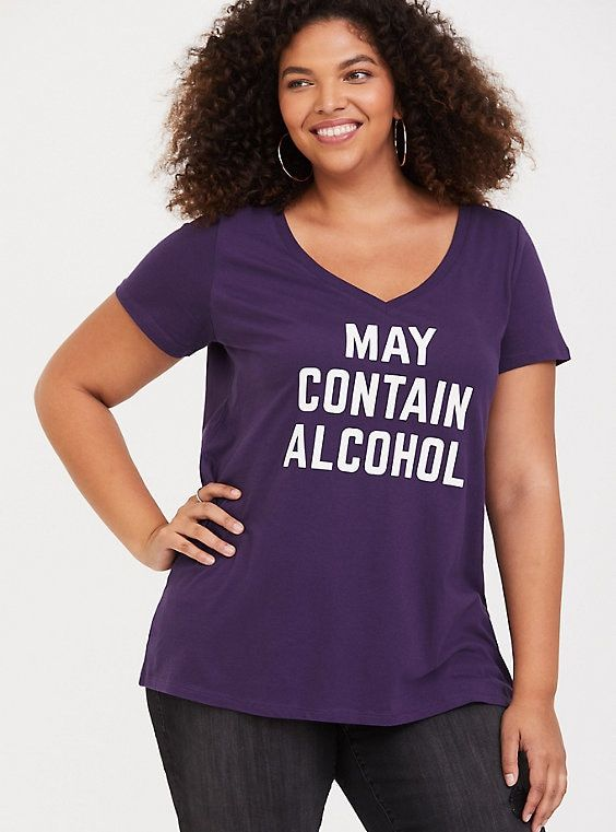 166fd3697 Purple May Contain Alcohol V-Neck Tee | Full Figured Fashion | V ...