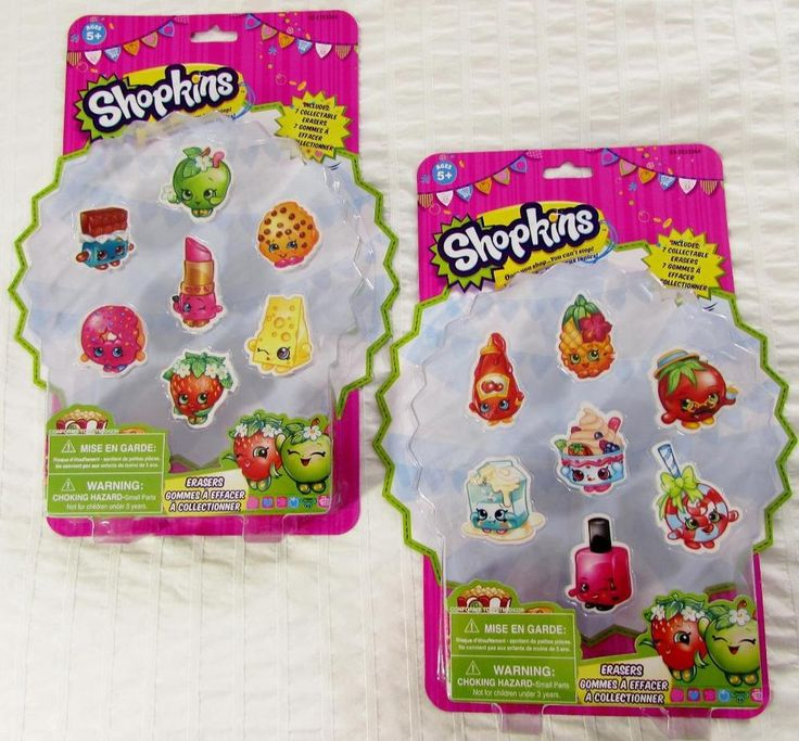 Shopkins Giant Erasers 2 X 7 Packs New in Sealed Package 14 Total Erasers #Moose