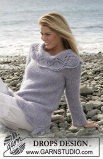 """DROPS jumper in garter sts with lace pattern in """"Alpaca"""" and """"Vivaldi"""". Size S - XXL ~ DROPS Design"""