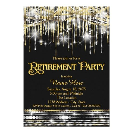 The 300 best retirement party images on pinterest texts lyrics black gold glitter sparkle lights retirement party invitation stopboris Images