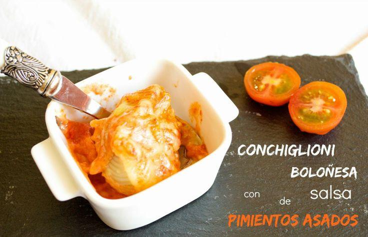 Cocinando en Mislares: CONCHIGLIONI BOLOÑESA con SALSA de PIMIENTOS ASADOS