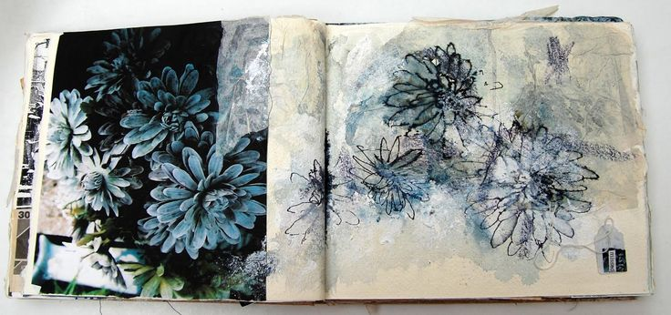 Memento Mori: Sketchbook 1; use of photographs to build up sketchbook imagery; by Mandy Pattullo.