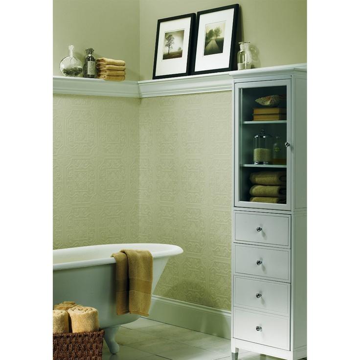 Textured wallpaper guest bathroom design pinterest for Textured wallpaper for bathroom