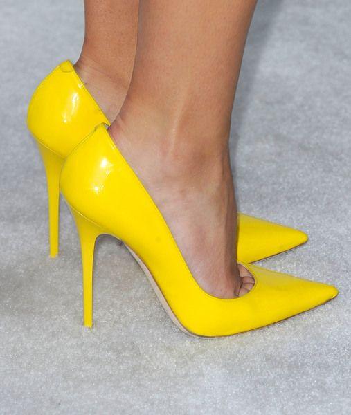 Brooklyn Decker's neon heels from Jimmy Choo