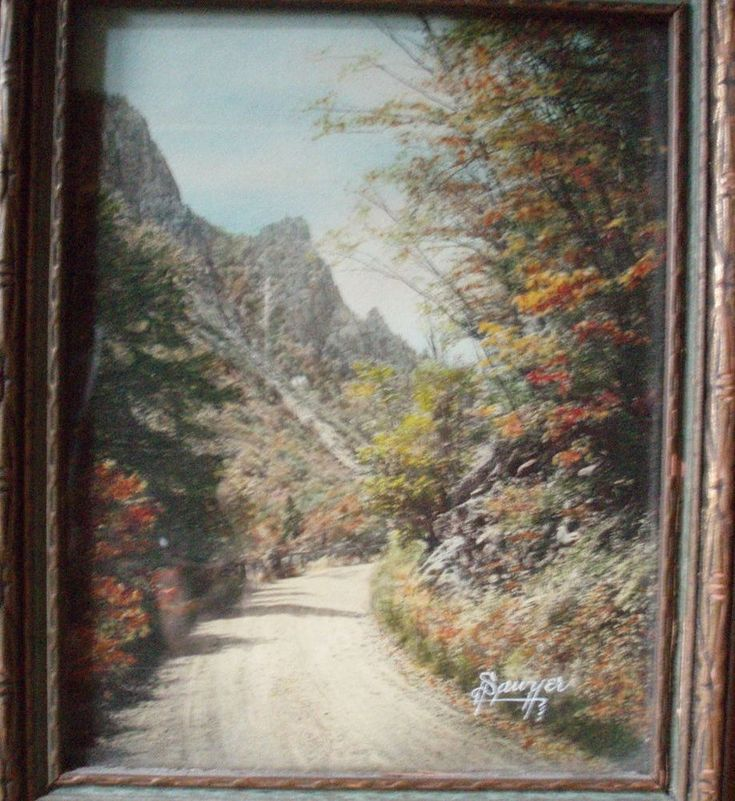 Up Through Dixville Notch by Charles H Saywer hand tinted photograph Vintage