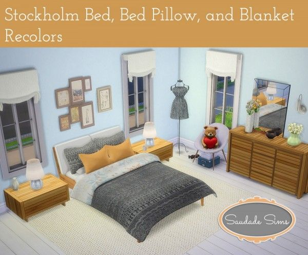 Saudade Sims: Stockholm bed 20 recolors of the blanket and pillows • Sims 4 Downloads