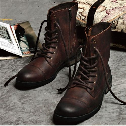 Veegol™  Vintage old man and Korean fashion trend boots Doc Martens boots men's boots leather tall boots UK fashion men shoes