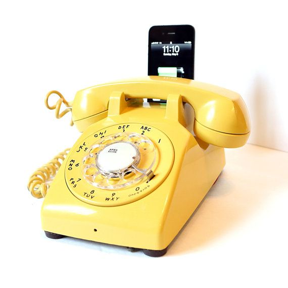 Vintage 60's Canary Yellow Rotary Phone iPod / iPhone ...